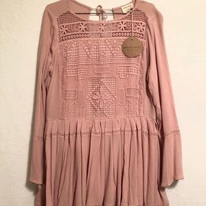 Emory park short blush dress embroidered detail